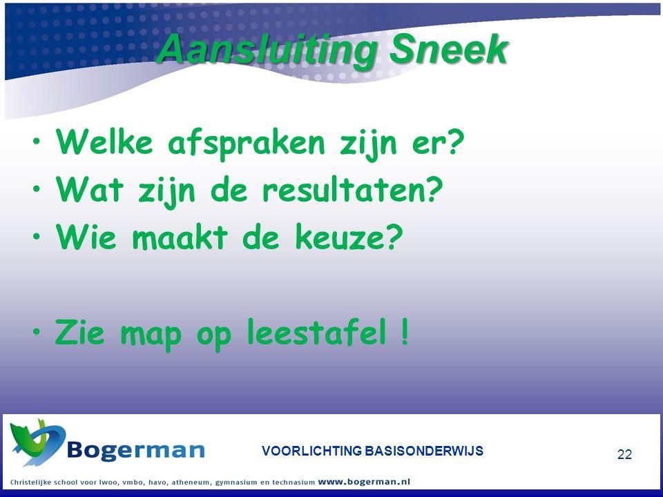 Aansluiting Sneek •Welke afspraken zijn er? •Wat zijn de resultaten? •Wie maakt de keuze? •Zie map op leestafel ! VOORLICHTING BASISONDERWIJS 22