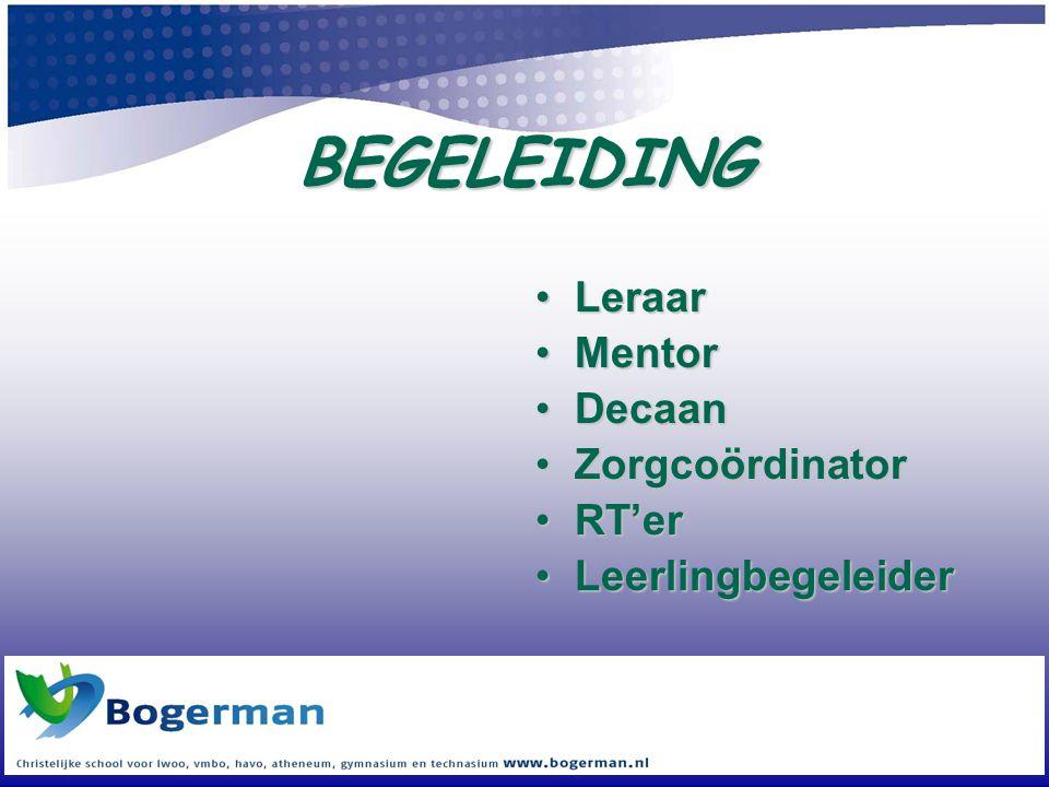 BEGELEIDING •Leraar •Mentor •Decaan •Zorgcoördinator •RT'er •Leerlingbegeleider