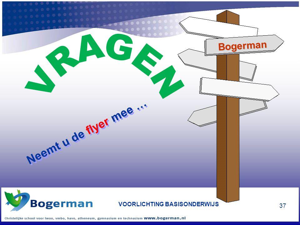 VOORLICHTING BASISONDERWIJS 37 Neemt u de flyer mee … Bogerman