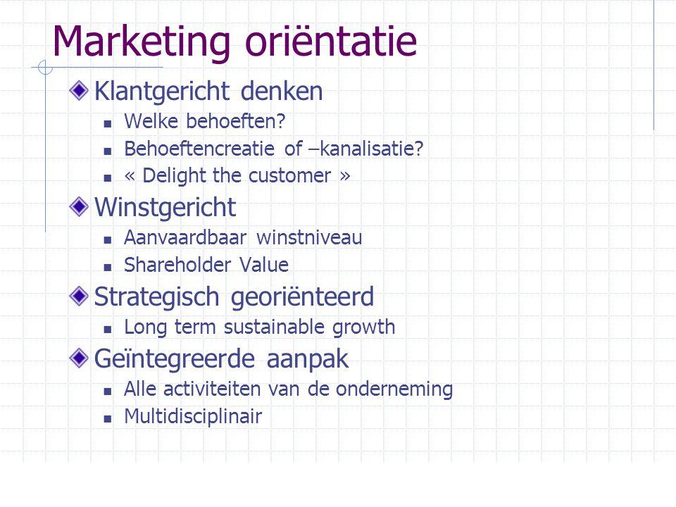 Marketing oriëntatie Klantgericht denken  Welke behoeften?  Behoeftencreatie of –kanalisatie?  « Delight the customer » Winstgericht  Aanvaardbaar