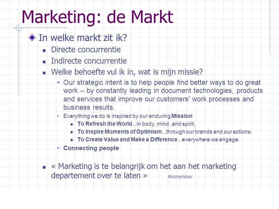Marketing: de Markt In welke markt zit ik?  Directe concurrentie  Indirecte concurrentie  Welke behoefte vul ik in, wat is mijn missie?  Our strat