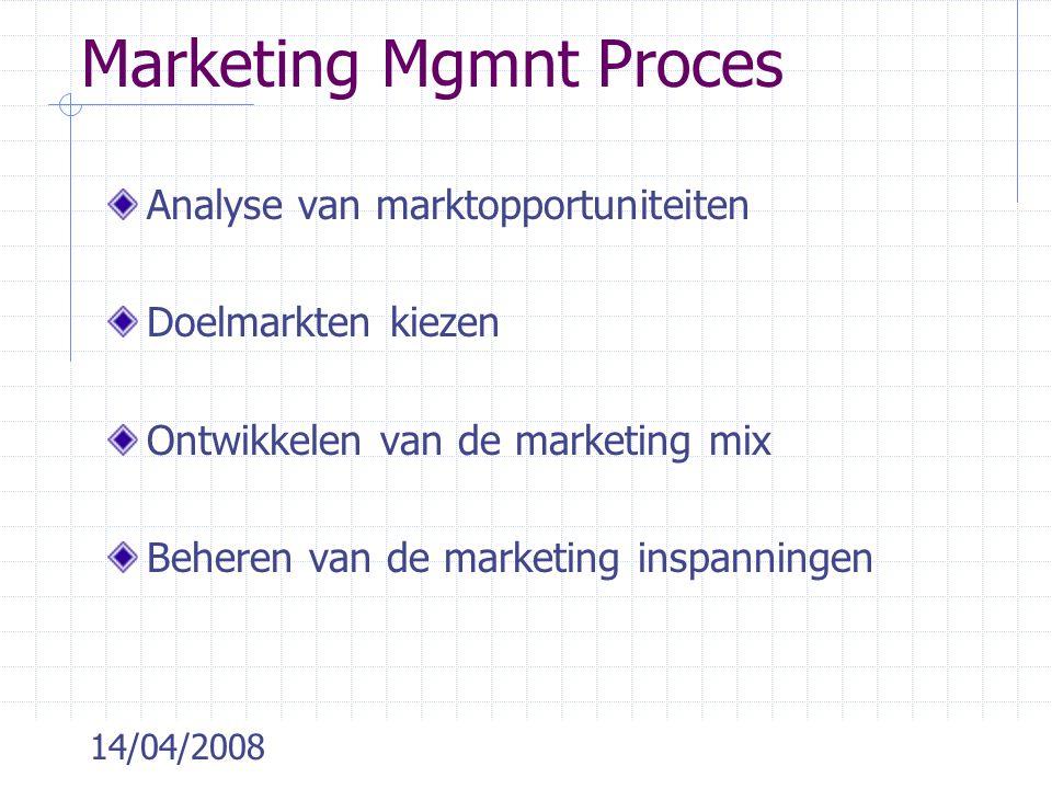 14/04/2008 Analyse van marktopportuniteiten Doelmarkten kiezen Ontwikkelen van de marketing mix Beheren van de marketing inspanningen Marketing Mgmnt