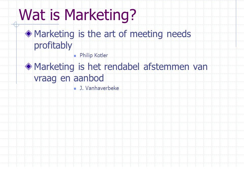 Wat is Marketing? Marketing is the art of meeting needs profitably  Philip Kotler Marketing is het rendabel afstemmen van vraag en aanbod  J. Vanhav