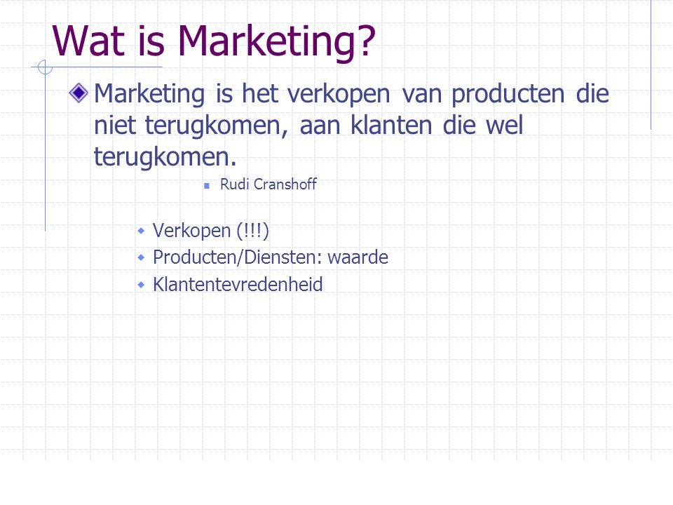 Marketing vs Verkoop Markt Geïntegreerde marketing Winst door klanten- tevredenheid Behoeften klanten (b) Het Marketing concept Fabriek Bestaande producten Verkoop en promotie Winst door verkoop volume Start punt FocusMiddelenResultaat (a) Het Verkoop concept