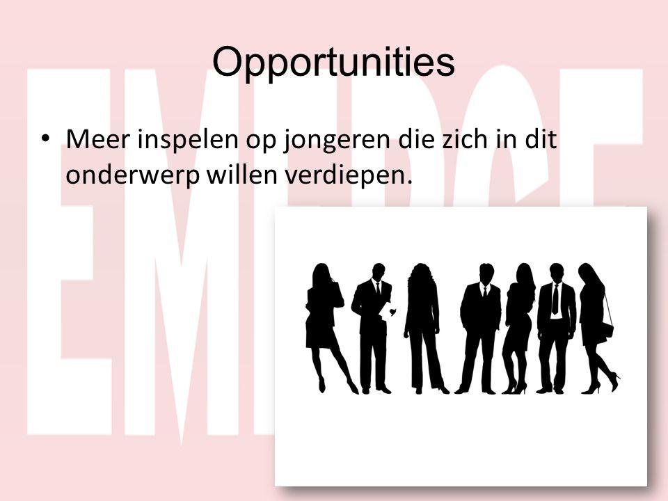 Opportunities • Meer inspelen op jongeren die zich in dit onderwerp willen verdiepen.