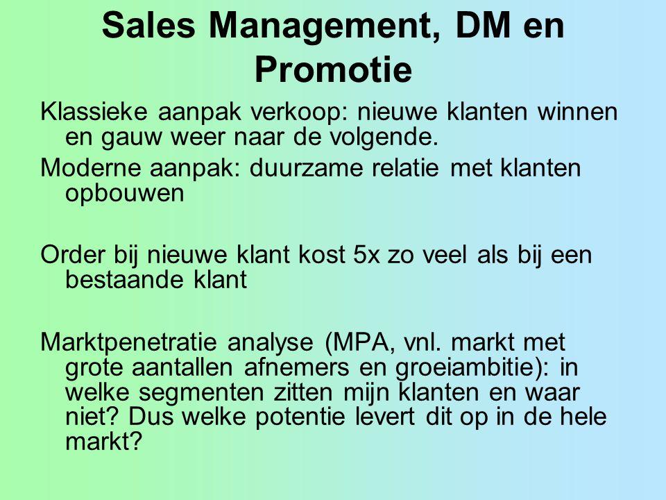 Sales Management, DM en Promotie Klassieke aanpak verkoop: nieuwe klanten winnen en gauw weer naar de volgende. Moderne aanpak: duurzame relatie met k