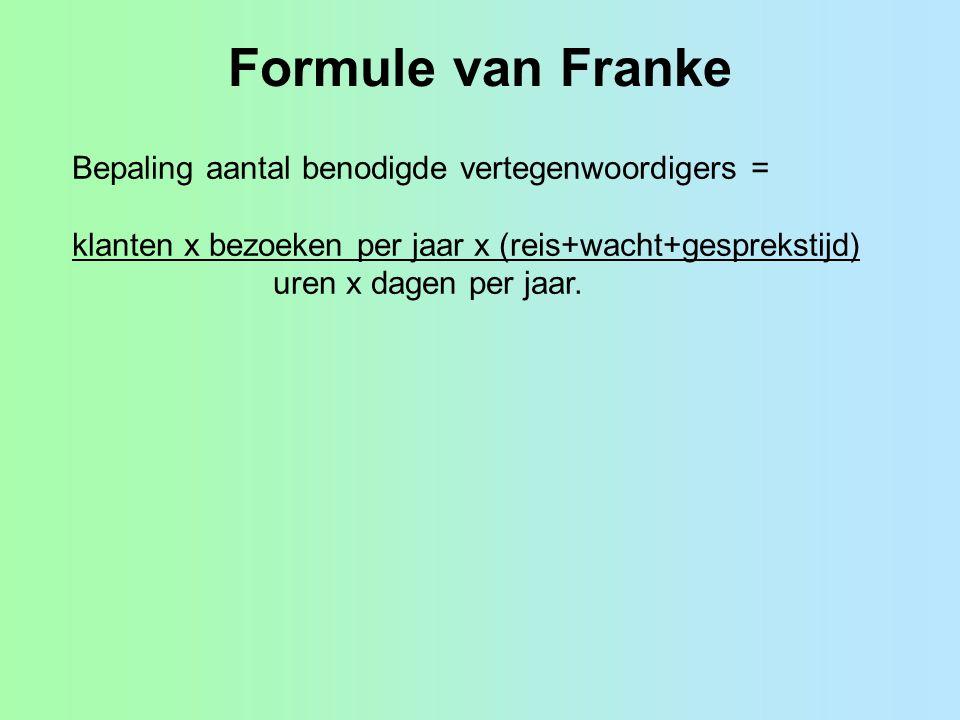 Formule van Franke Bepaling aantal benodigde vertegenwoordigers = klanten x bezoeken per jaar x (reis+wacht+gesprekstijd) uren x dagen per jaar.
