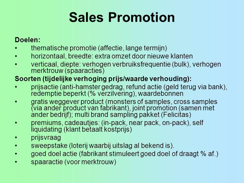 Sales Promotion Doelen: •thematische promotie (affectie, lange termijn) •horizontaal, breedte: extra omzet door nieuwe klanten •verticaal, diepte: ver