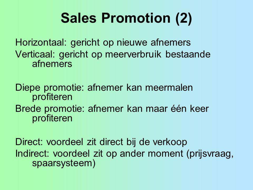 Sales Promotion (2) Horizontaal: gericht op nieuwe afnemers Verticaal: gericht op meerverbruik bestaande afnemers Diepe promotie: afnemer kan meermale