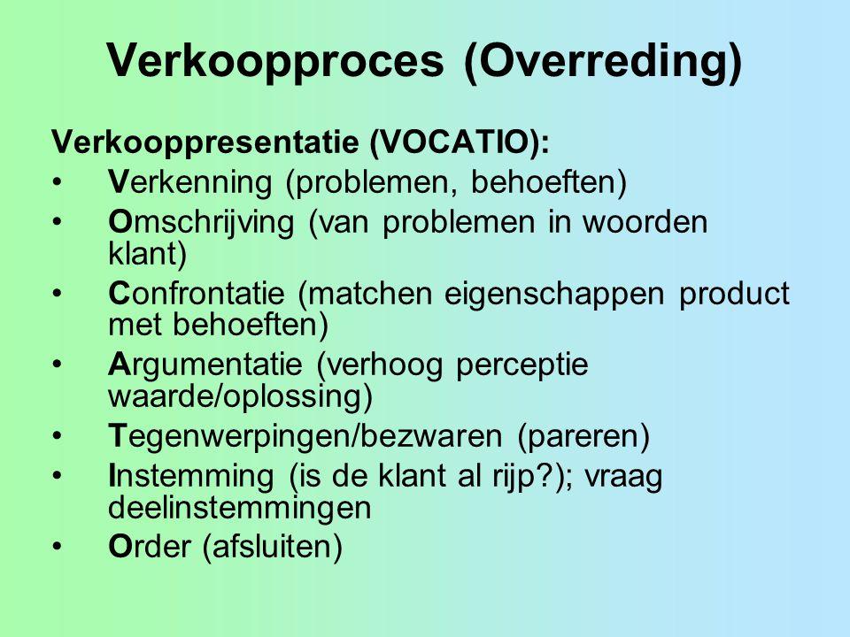 Verkoopproces (Overreding) Verkooppresentatie (VOCATIO): •Verkenning (problemen, behoeften) •Omschrijving (van problemen in woorden klant) •Confrontat