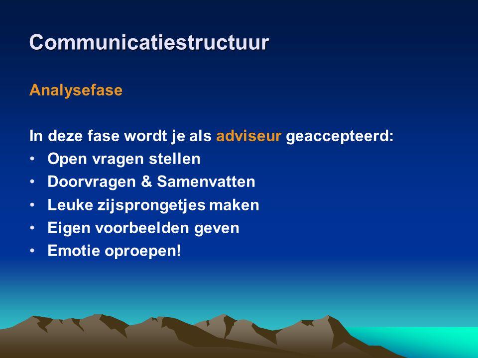 Communicatiestructuur Aanbodfase In deze fase wordt je als verkoper geaccepteerd: •Op behoefte afgestemd kenmerken naar voordelen vertalen.