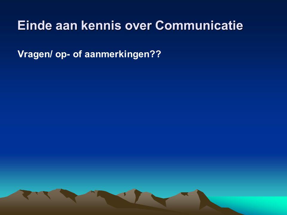 Einde aan kennis over Communicatie Vragen/ op- of aanmerkingen??