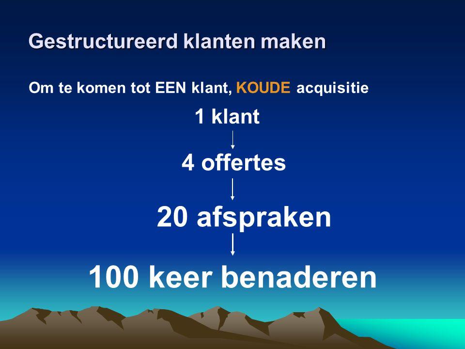 Gestructureerd klanten maken Om te komen tot EEN klant, KOUDE acquisitie 1 klant 4 offertes 20 afspraken 100 keer benaderen