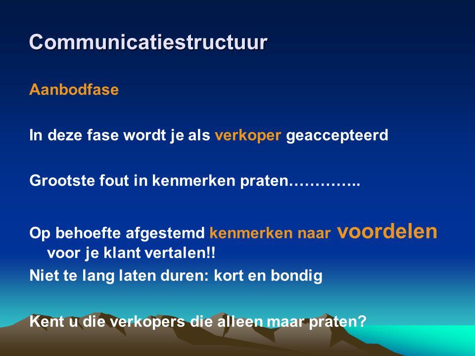 Communicatiestructuur Aanbodfase In deze fase wordt je als verkoper geaccepteerd Grootste fout in kenmerken praten………….. Op behoefte afgestemd kenmerk