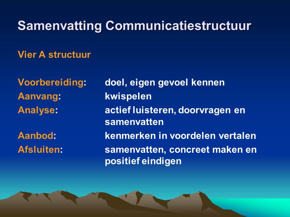 Samenvatting Communicatiestructuur Vier A structuur Voorbereiding: doel, eigen gevoel kennen Aanvang: kwispelen Analyse: actief luisteren, doorvragen