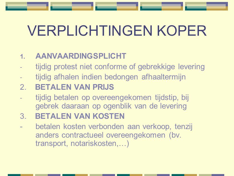 VERPLICHTINGEN KOPER 1. AANVAARDINGSPLICHT - tijdig protest niet conforme of gebrekkige levering - tijdig afhalen indien bedongen afhaaltermijn 2. BET