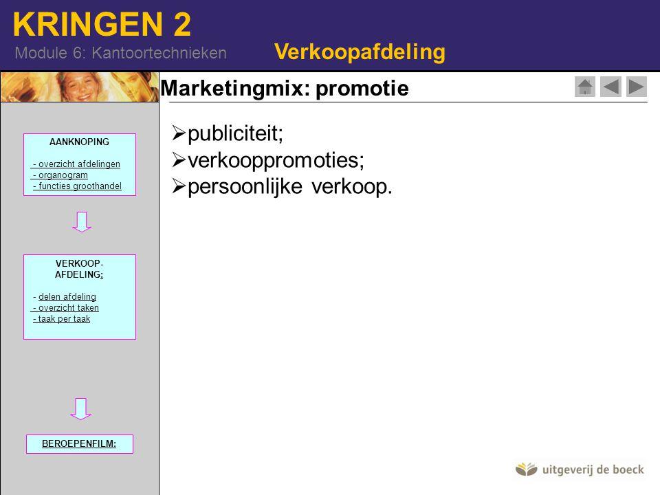 KRINGEN 2 Module 6: Kantoortechnieken Marketingmix: promotie Verkoopafdeling  publiciteit;  verkooppromoties;  persoonlijke verkoop. AANKNOPING - o