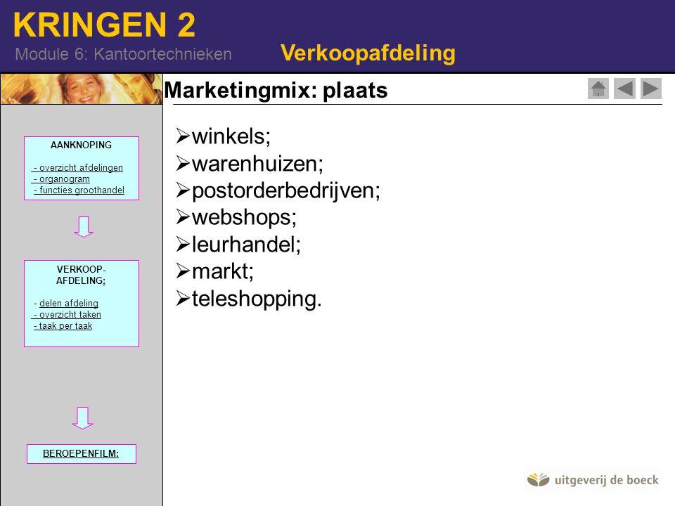 KRINGEN 2 Module 6: Kantoortechnieken Marketingmix: plaats Verkoopafdeling  winkels; arenhuizen;  postorderbedrijven;  webshops;  leurhandel;  ma