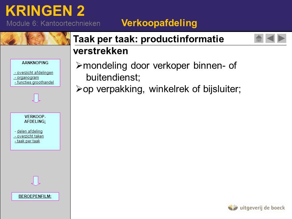 KRINGEN 2 Module 6: Kantoortechnieken Verkoopafdeling Taak per taak: productinformatie verstrekken  mondeling door verkoper binnen- of buitendienst;