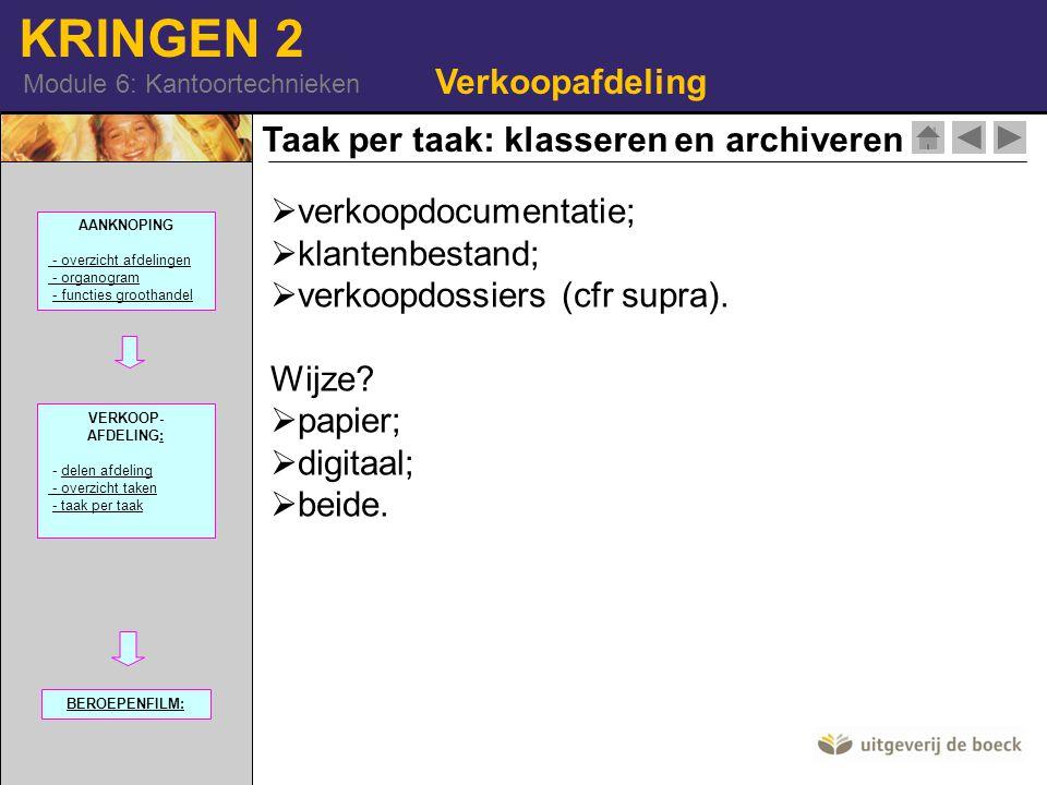 KRINGEN 2 Module 6: Kantoortechnieken Taak per taak: klasseren en archiveren Verkoopafdeling  verkoopdocumentatie;  klantenbestand;  verkoopdossier