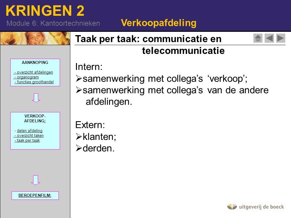 KRINGEN 2 Module 6: Kantoortechnieken Taak per taak: communicatie en telecommunicatie Verkoopafdeling Intern:  samenwerking met collega's 'verkoop';