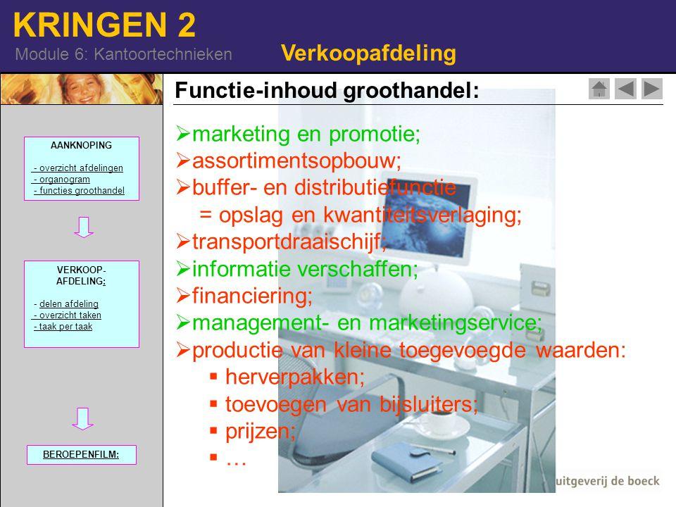 KRINGEN 2 Module 6: Kantoortechnieken Verkoopafdeling Functie-inhoud groothandel:  marketing en promotie;  assortimentsopbouw;  buffer- en distribu