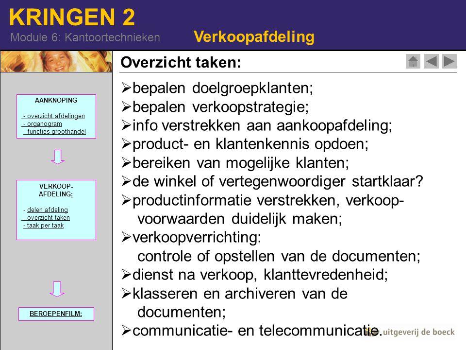 KRINGEN 2 Module 6: Kantoortechnieken Verkoopafdeling Overzicht taken:  bepalen doelgroepklanten; epalen verkoopstrategie;  info verstrekken aan aan