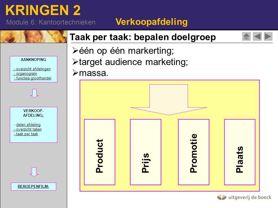 KRINGEN 2 Module 6: Kantoortechnieken Verkoopafdeling  één op één markerting;  target audience marketing;  massa. Taak per taak: bepalen doelgroep