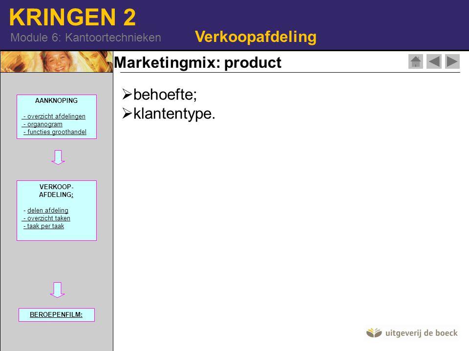 KRINGEN 2 Module 6: Kantoortechnieken Verkoopafdeling Marketingmix: product  behoefte;  klantentype. AANKNOPING - overzicht afdelingen - organogram