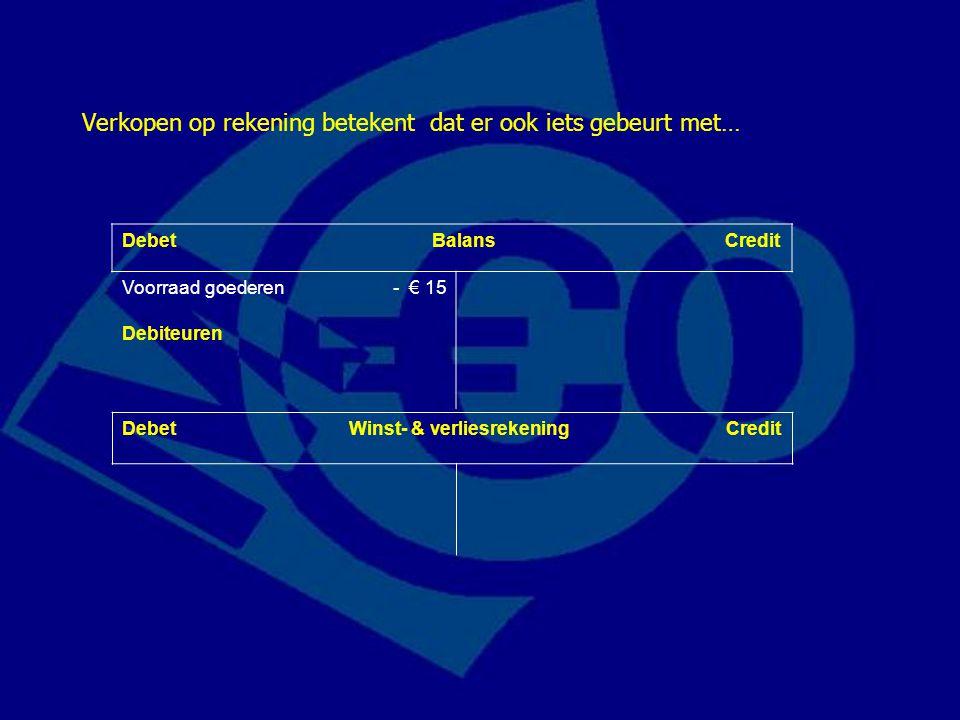 Debet Balans Credit Voorraad goederen- € 15 Debiteuren Verkopen op rekening betekent dat er ook iets gebeurt met… Debet Winst- & verliesrekening Credi