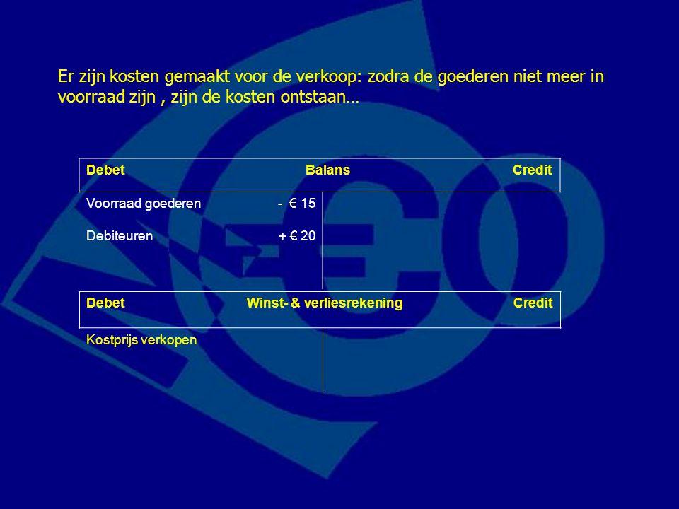 Debet Balans Credit Voorraad goederen- € 15 Debiteuren+ € 20 Er zijn kosten gemaakt voor de verkoop: zodra de goederen niet meer in voorraad zijn, zij