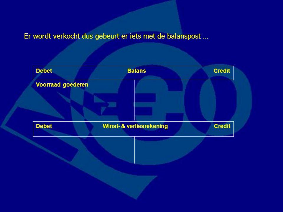 Debet Balans Credit Voorraad goederen Er wordt verkocht dus gebeurt er iets met de balanspost … Debet Winst- & verliesrekening Credit