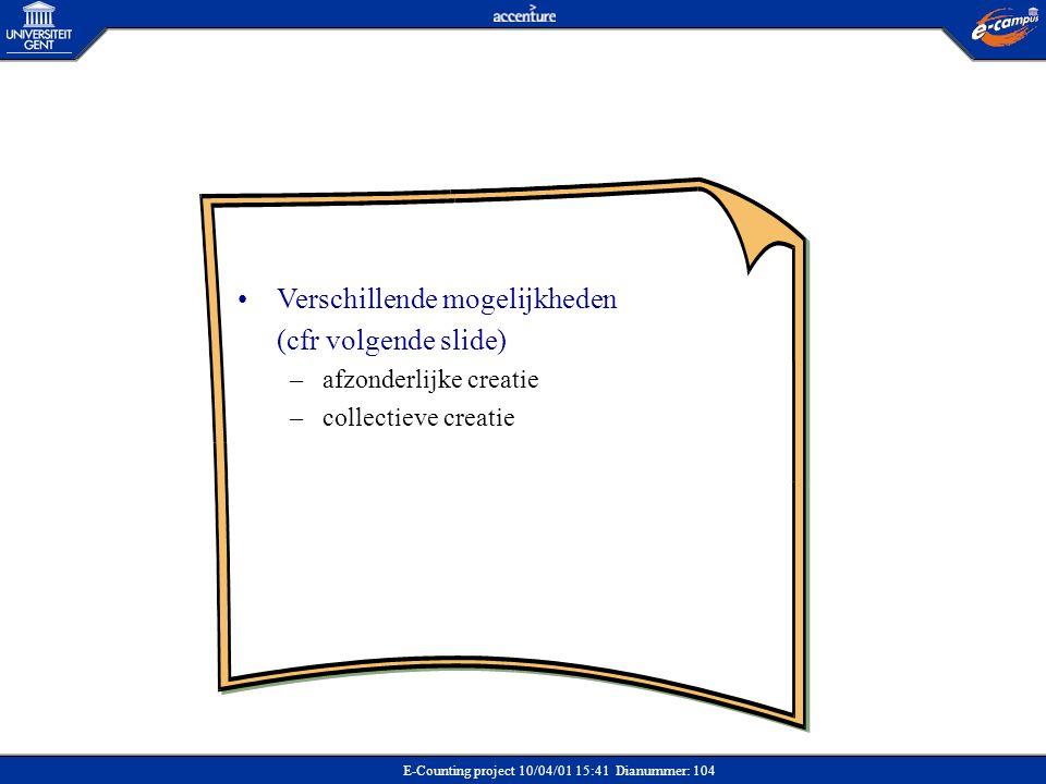 E-Counting project 10/04/01 15:41 Dianummer: 104 •Verschillende mogelijkheden (cfr volgende slide) –afzonderlijke creatie –collectieve creatie