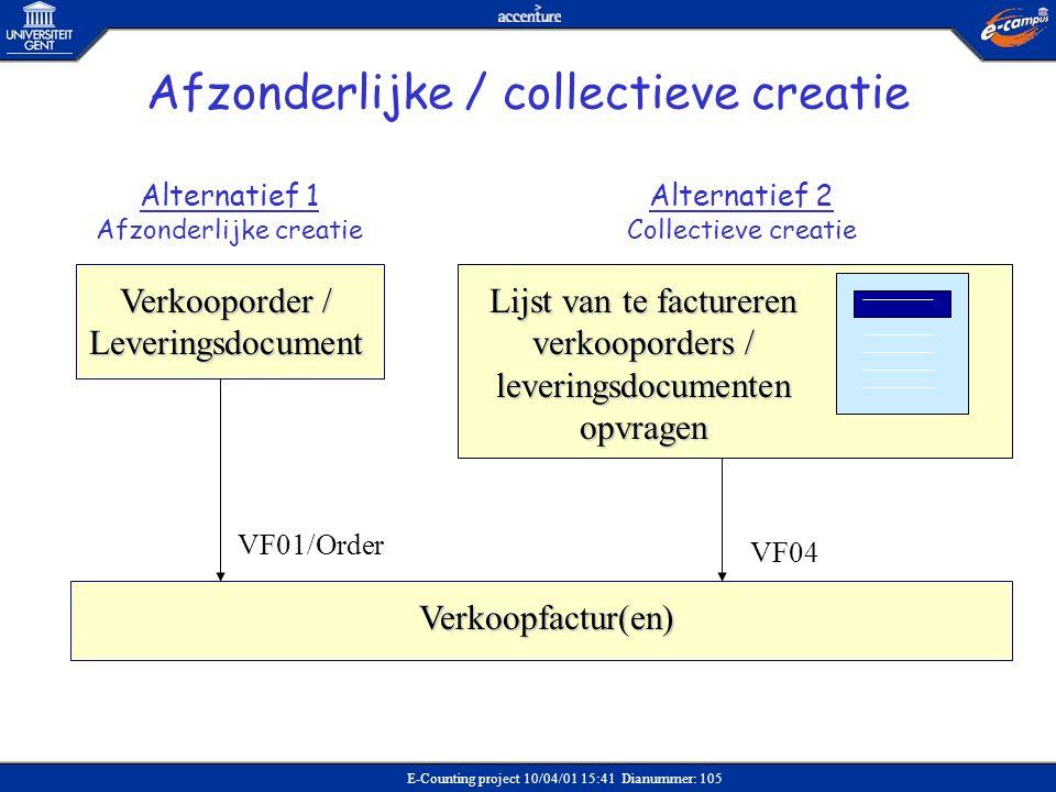 E-Counting project 10/04/01 15:41 Dianummer: 105 Verkoopfactur(en) Verkooporder / Leveringsdocument Alternatief 1 Afzonderlijke creatie Alternatief 2