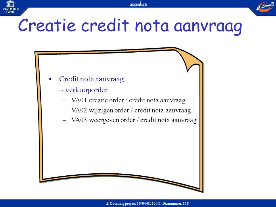 E-Counting project 10/04/01 15:41 Dianummer: 118 •Credit nota aanvraag ~ verkooporder –VA01 creatie order / credit nota aanvraag –VA02 wijzigen order