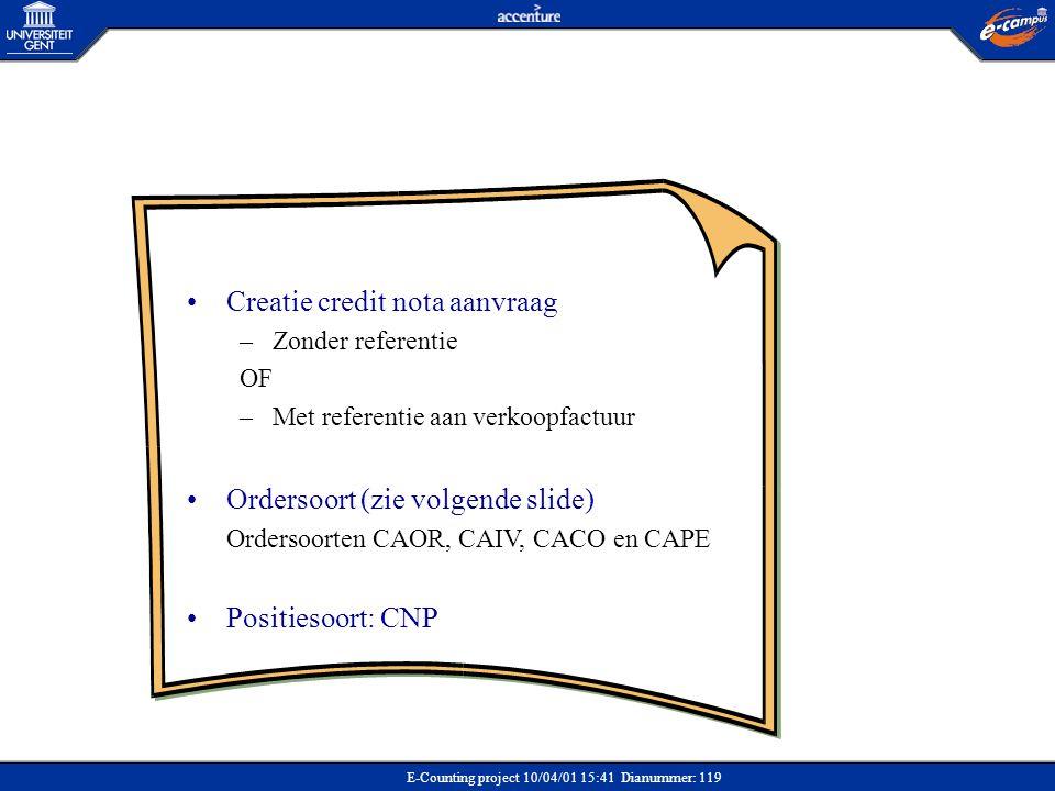 E-Counting project 10/04/01 15:41 Dianummer: 119 •Creatie credit nota aanvraag –Zonder referentie OF –Met referentie aan verkoopfactuur •Ordersoort (z