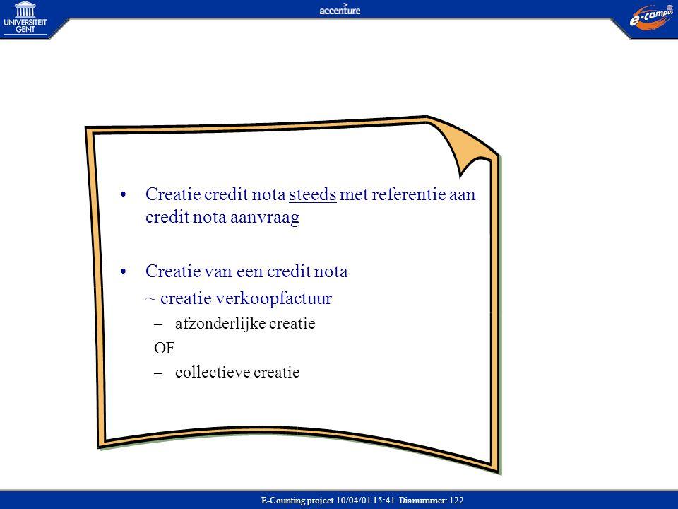 E-Counting project 10/04/01 15:41 Dianummer: 122 •Creatie credit nota steeds met referentie aan credit nota aanvraag •Creatie van een credit nota ~ cr