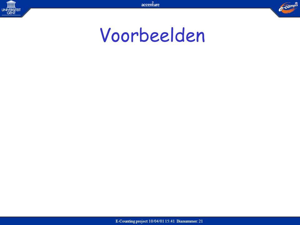 E-Counting project 10/04/01 15:41 Dianummer: 21 Voorbeelden
