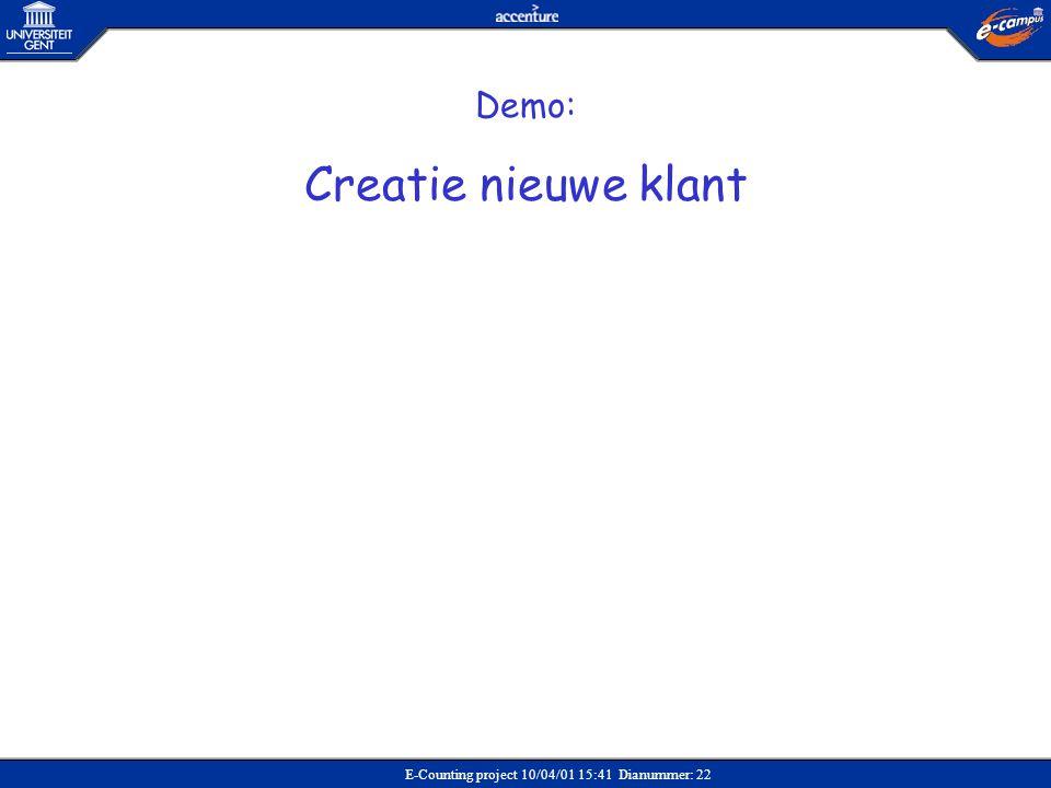 E-Counting project 10/04/01 15:41 Dianummer: 22 Demo: Creatie nieuwe klant