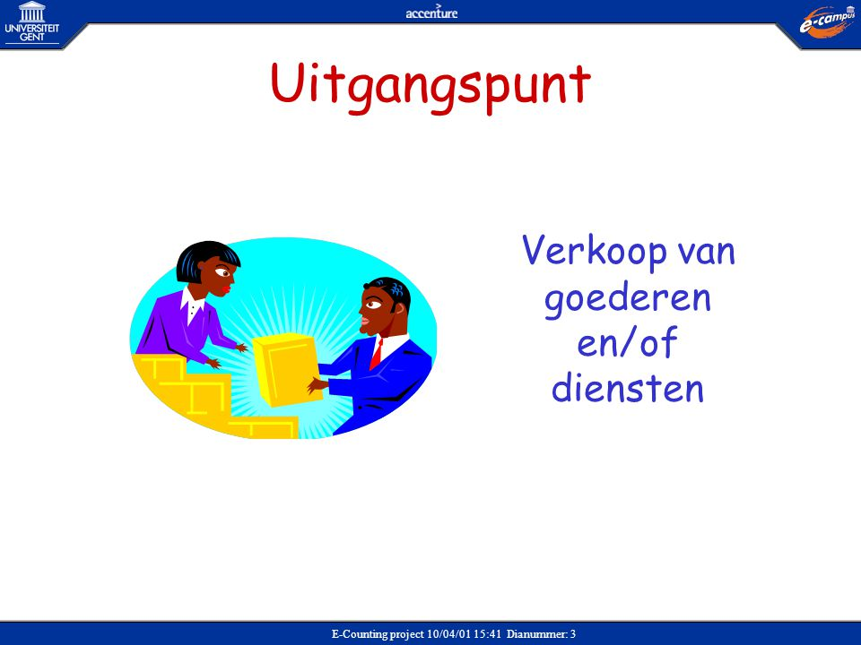 E-Counting project 10/04/01 15:41 Dianummer: 3 Uitgangspunt Verkoop van goederen en/of diensten