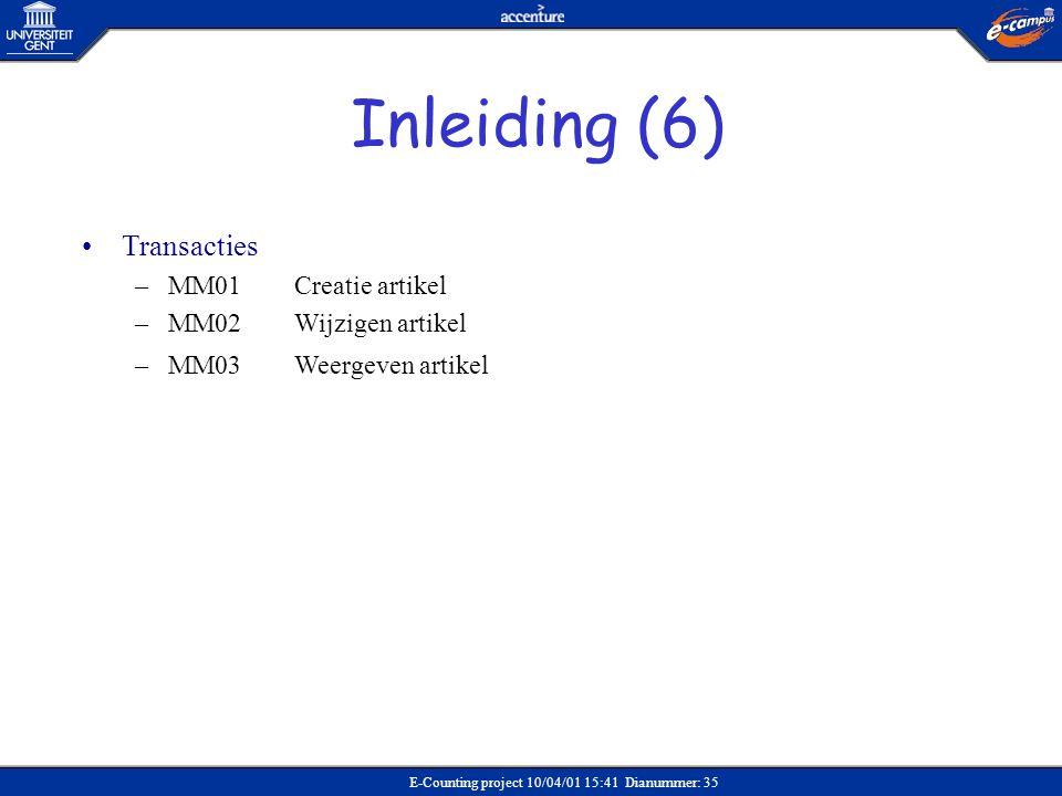 E-Counting project 10/04/01 15:41 Dianummer: 35 •Transacties –MM01Creatie artikel –MM02Wijzigen artikel –MM03Weergeven artikel Inleiding (6)