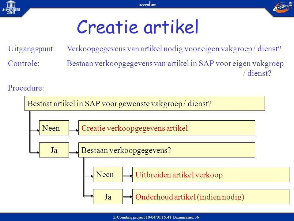 E-Counting project 10/04/01 15:41 Dianummer: 36 Bestaat artikel in SAP voor gewenste vakgroep / dienst? Neen Ja Creatie verkoopgegevens artikel Bestaa