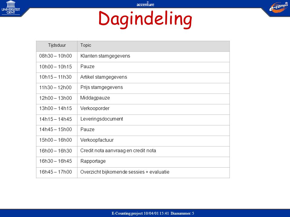 E-Counting project 10/04/01 15:41 Dianummer: 16 Bestaat klant in SAP .