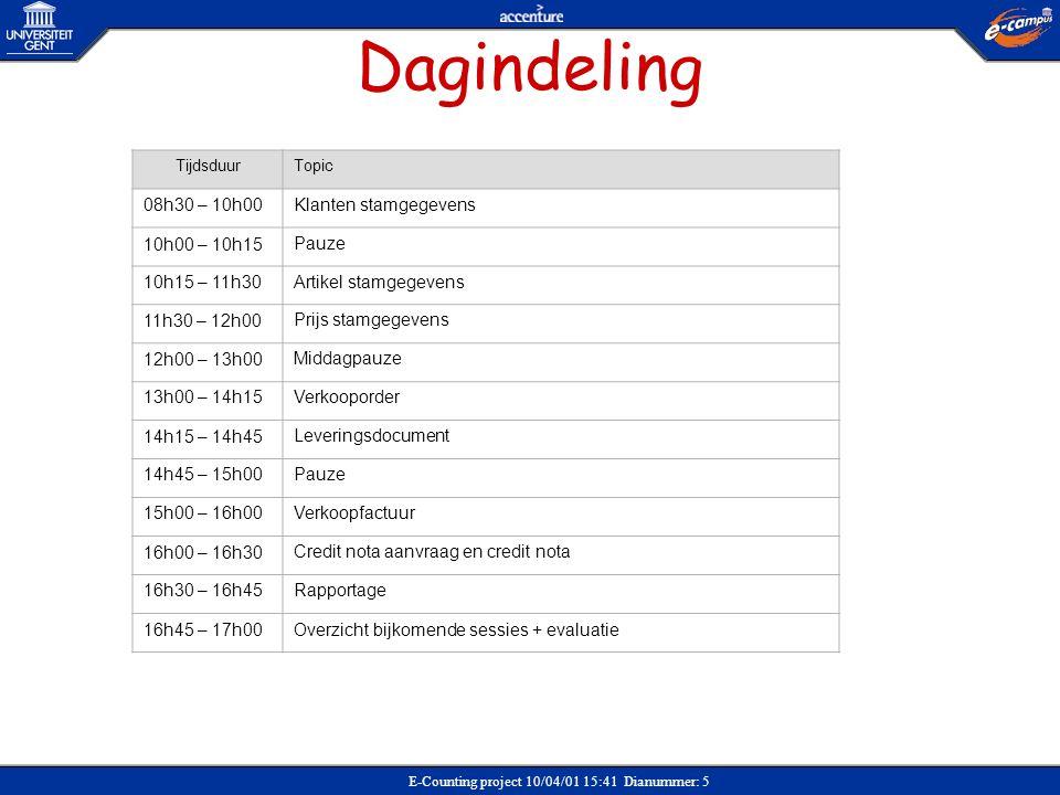 E-Counting project 10/04/01 15:41 Dianummer: 5 Dagindeling TijdsduurTopic 08h30 – 10h00Klanten stamgegevens 10h00 – 10h15Pauze 10h15 – 11h30Artikel st