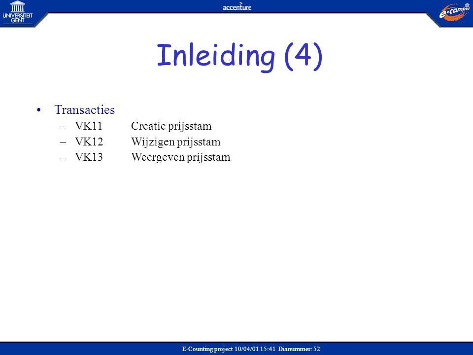 E-Counting project 10/04/01 15:41 Dianummer: 52 •Transacties –VK11Creatie prijsstam –VK12 Wijzigen prijsstam –VK13Weergeven prijsstam Inleiding (4)