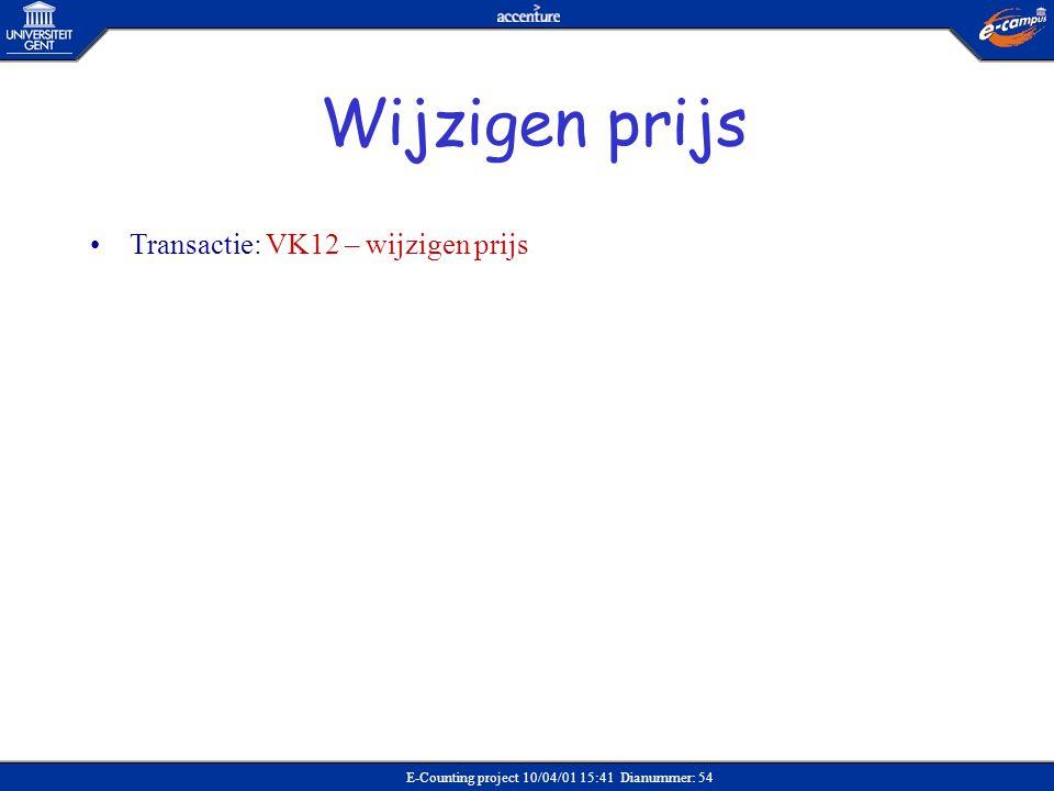 E-Counting project 10/04/01 15:41 Dianummer: 54 •Transactie: VK12 – wijzigen prijs Wijzigen prijs