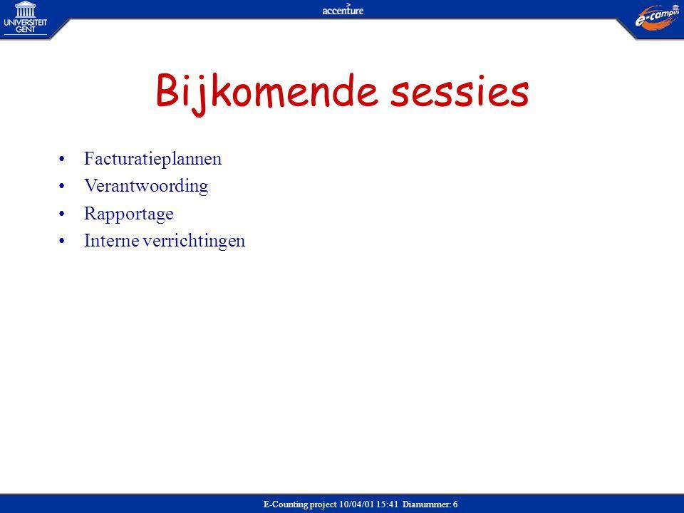 E-Counting project 10/04/01 15:41 Dianummer: 127 CREATIE CNA, GEVOLGD DOOR CREATIE CN Ordersoort (CAOR / CAIV / CACO / CAPE) Verkooporganisatie (vakgroep / dienst) Ordersoort (CAOR / CAIV / CACO / CAPE) Verkooporganisatie (vakgroep / dienst) Startscherm VA01 (Creatie credit nota aanvraag) Transactie Menupad Zonder referentie Nummer referentie factuur Actie In te vullen Raadpleeg creatie order Actie Te selecteren Te kopiëren posities Actie CN aanvraag Verkoopdocument - factureren Breng wijzigingen aan Actie Credit nota verschijnt (opslaan) Credit nota