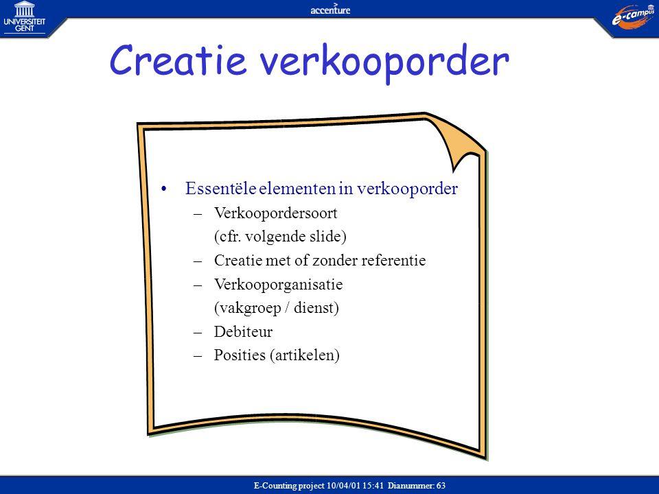 E-Counting project 10/04/01 15:41 Dianummer: 63 •Essentële elementen in verkooporder –Verkoopordersoort (cfr. volgende slide) –Creatie met of zonder r