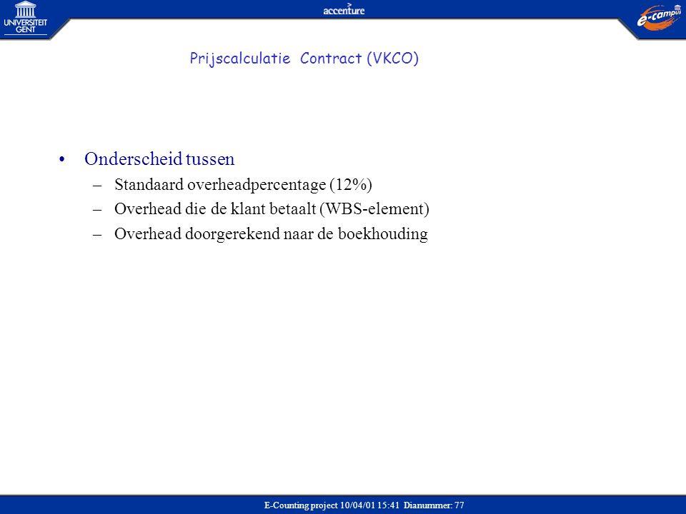 E-Counting project 10/04/01 15:41 Dianummer: 77 Prijscalculatie Contract (VKCO) •Onderscheid tussen –Standaard overheadpercentage (12%) –Overhead die