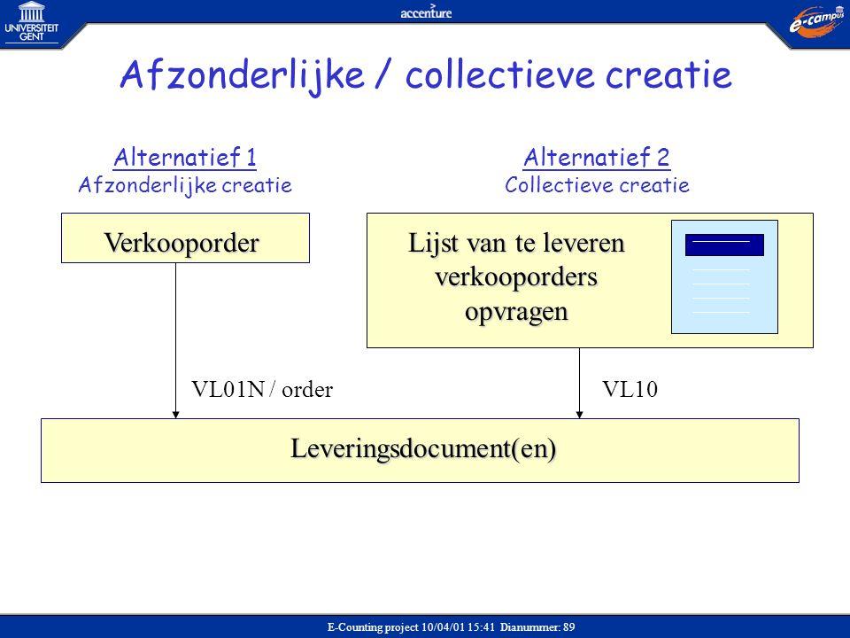 E-Counting project 10/04/01 15:41 Dianummer: 89 Leveringsdocument(en) Verkooporder Lijst van te leveren verkooporders opvragen Alternatief 1 Afzonderl